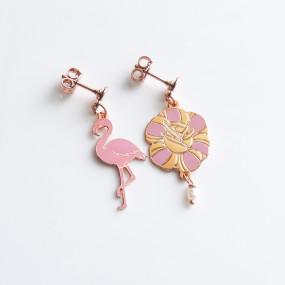 Orecchini Flamingo e Fiore